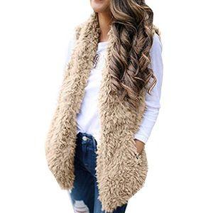 Denim - NWOT faux fur vest